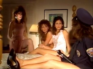Sex crazy girlfriends of 80s porn fuck in bed